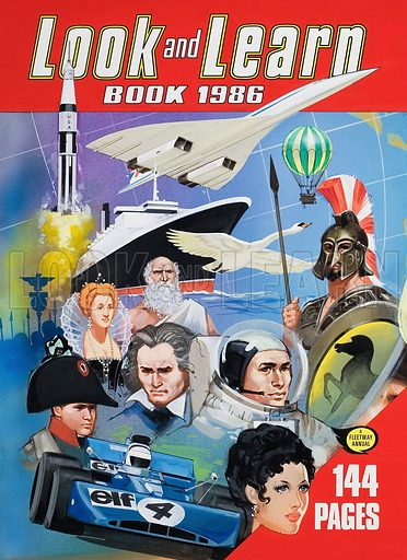 Cover of the Look and Learn Book 1986, the last annual produced for Look and Learn.  Original artwork.