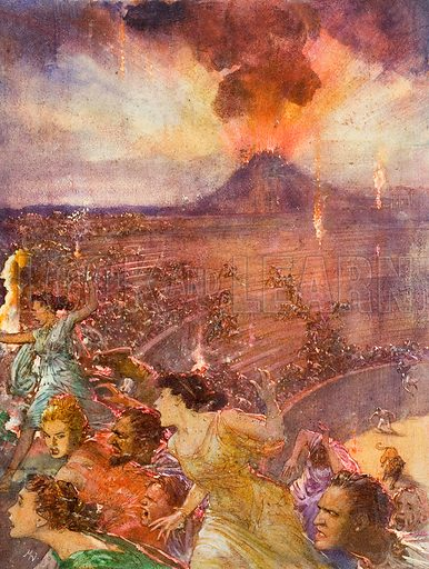 Romans fleeing the eruption of Vesuvius, Pompeii, 79. Original artwork for illustration in Look and Learn (issue yet to be identified).