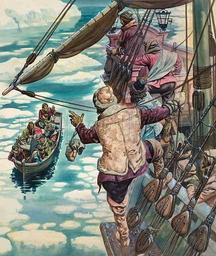Unidentified Scene at Sea. Original artwork for Look and Learn or Treasure (issue yet to be identified).