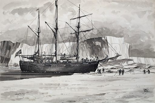 The Fram, ship carrying Norwegian explorer Roald Amundsen's expedition to the South Pole, in the Bay of Whales, Antarctica, 1911. The ship arrived in the Bay of Whales to set up a base for Amundsen's successful attempt to beat Robert Falcon Scott in the race to the Pole. Original artwork for illustration on pp6–7 of Look and Learn issue no 761 (14 August 1976).