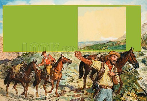 Australian Gold Rush.  Original artwork for illustration on pp20-21 of Look and Learn issue no 758 (24 July 1976).