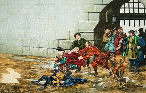 The Sergeant-at-Arms and his men being set upon, beaten and thrown out through the gate of the City of London in 1542. Original artwork for illustration on pp14–15 of Look and Learn issue no 393 (26 July 1969).