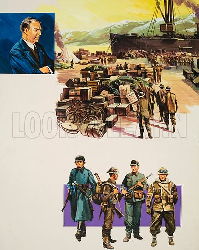 Battle in the Baltic.  Top left: Portrait of Major Vidkun Quisling, the Norwegian Nazi leader who gave his name to a despicable brand of traitor.  Centre: Men of the British expeditionary force after disembarking in Namsos Fjord.  Bottom (from left to right): German, British, Norwegian and French Foreign Legion.  Original artwork for illustration on p21 of Look and Learn issue no 649 (22 June 1974).