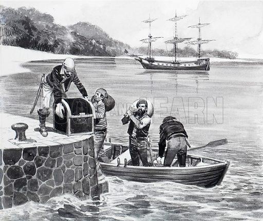Pirates landing their treasure.