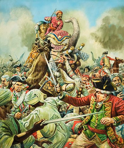 The Battle of Arcot.  At Arcot, in 1751, Robert Clive and 300 men faced an Indian army of 10,000.  The Indians had many pieces of artillery and their attack was led by armoured elephants.  But the encounter lasted only an hour, at the end of which time the Indian army was in flight.  Original artwork for illustration on p5 of Look and Learn issue no 308 (9 December 1967).