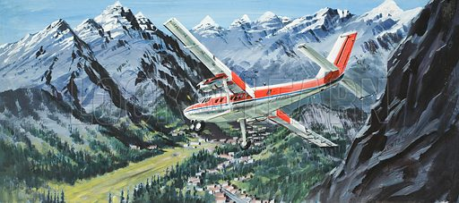 De Havilland Twin Otter.  Original artwork for illustration on p18 of Look and Learn issue no 871 (23 September 1978).