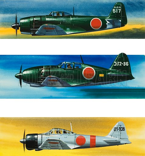 Japanese Aircraft of World War II.  From top to bottom: Kawanishi N1K2-J Shiden-Kai; Mitsubishi J2M3a RAIDEN; and Mitsubishi A6M2 Zero-Sen.  Original artwork for illustration on p18 of Look and Learn issue no 370 (15 February 1969).  In the magazine the images are shown in a different order from here.
