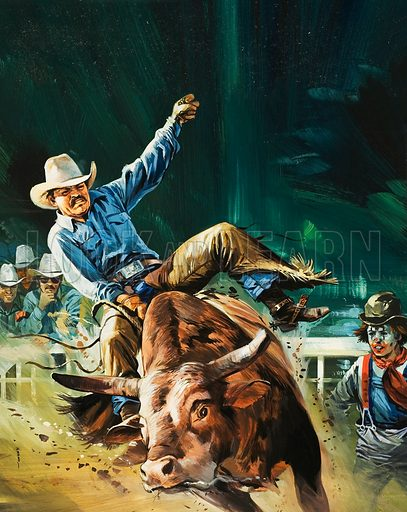 Cowboy.  Original artwork for illustration in Look and Learn (issue yet to be identified).