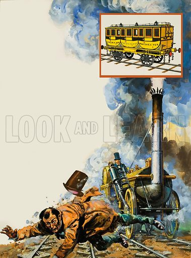 The Death of William Huskisson.  The tragedy that cast a shadow over a glorious day.  William Huskisson, MP for Liverpool, is run down by George Stephenson's Rocket.  He died a few yours later.  Original artwork for illustrations on p18 of Look and Learn issue no 967 (20 September 1980).