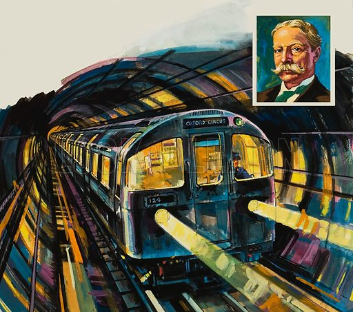London's Underground, with portrait (inset) of Charles Tyson Yerkes, pioneer of Underground electrification. Original artwork for illustration on p15 of Look and Learn issue no 948 (22 March 1980).