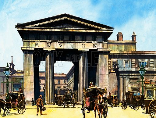 The classical portico of the old Euston Station.