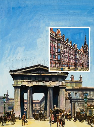 Euston and St Pancras.  Stately examples of Victorian railway architecture.  Below, the classical portico of the old Euston Station; and right, the red-brick Gothic of St Pancras.  Original artwork for illustration on p18 of Look and Learn issue no 972 (25 October 1980).