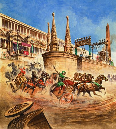 Chariot Race.  Original artwork for illustration in Treasure or Look and Learn (issue yet to be identified).
