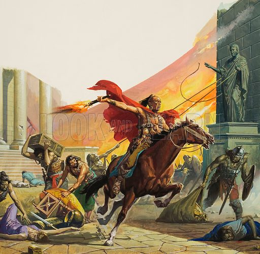 Barbarians at the Gate.  The civilised world was horrified when it heard that Rome had been overrun by German tribesmen and sacked.  But the barbarians did not stay for long.  Original artwork for illustration on p14 of Look and Learn issue no 1012 (1 August 1981).
