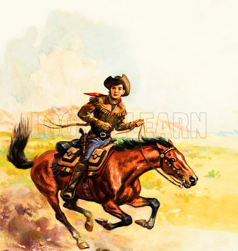 Pony Express rider in the American West.