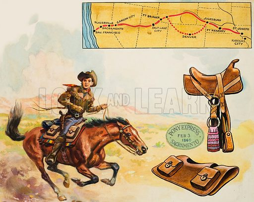 Pony Express rider in the American West. Original artwork for illustration in Look and Learn (issue yet to be identified).