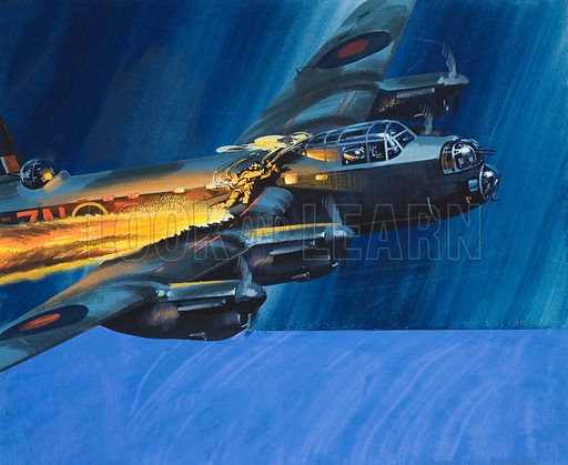 Burning Aircraft. Original artwork for illustration in Look and Learn (issue yet to be identified).