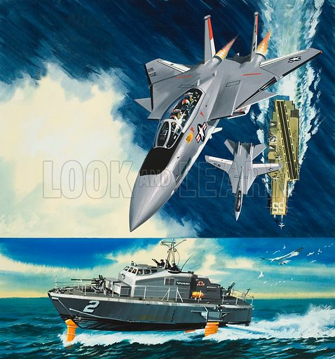 Aircraft and Hydrofoil.  Original artwork for illustration on p37 of Look and Learn issue no 403 (4 October 1969).