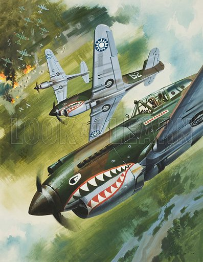 """Curtiss P40 Warhawk aircraft of the First American Volunteer Group, the """"Flying Tigers"""", commanded by Major Claire Lee Chennault, in action against the Japanese in China, World War II, 1941–1942. Original artwork for illustration on p7 of Look and Learn issue no 203."""