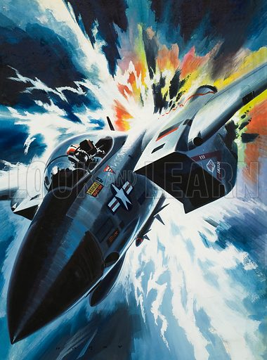 Danger From the Skies.  Our picture illustrates the danger that lightning can cause an aircraft.  Original artwork for cover of Look and Learn issue no 553 (19 August 1972).