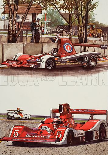 Racing Cars. Top: The 1979 Championship-winning Lola of Jacky Ickx. Bottom: Carlos Reutemann in the Williams, seen winning the 1980 Monaco Grand Prix. Original artwork for two – separate – illustrations on pp 78 and 77 of the World of Knowledge Annual 1982.