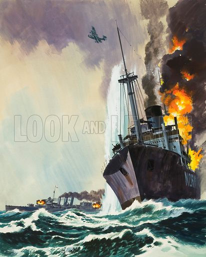 The Deadly Penguin – the name its Captain used for the auxiliary cruiser HK33 of the German Navy which used disguise to get near to Allied shipping and destroy it. HK33's day of reckoning came on 8 May 1941 when it was sunk by HMS Cornwall. Original artwork for illustration on p33 of Look and Learn issue no 480 (27 March 1971).