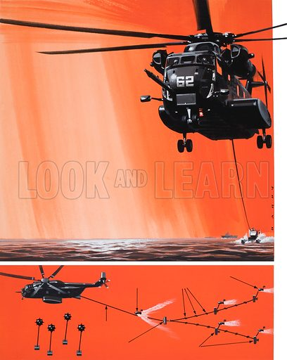 American Mine-sweeping Helicopter.  Original artwork for illustration on p14 of Look and Learn issue no 583 (17 March 1973).