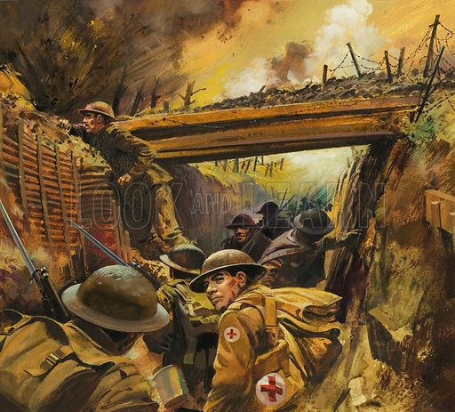 British soldiers in the trenches of Flanders, World War I, 1914–1918. Illustration for article about the war poet Rupert Brooke who died early in the First World War. Original artwork for illustration on p23 of Look and Learn issue no 953 (26 April 1980).