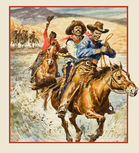 "Rangers.  Sergeant Gillett and a friend ""kidnapped"" a wanted man out of Mexico and outrode a furious posse back to Texas.  Original artwork for illustration on p11 of Look and Learn issue no 804 (11 June 1977)."