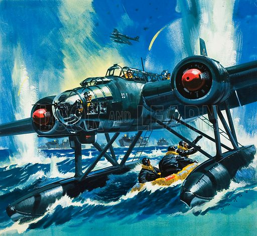 Flying Boat. Original artwork for Look and Learn (issue yet to be identified).