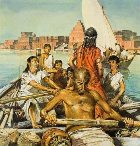 Slaves rowing a boat on the River Euphrates, ancient Babylon. Original artwork for cover of Look and Learn issue no 522 (15 January 1972).