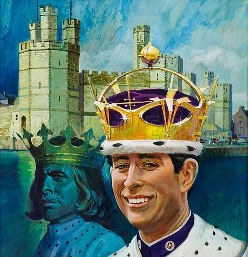 Prince of Wales.  Original artwork for cover of Look and Learn issue no 713 (13 September 1975).