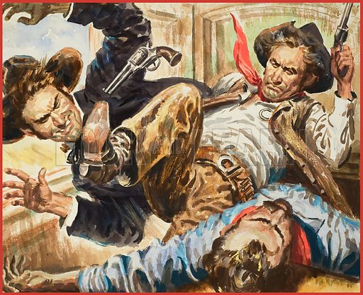 Rangers.  John Wesley Hardin was the West's most dangerous killer, yet Ranger Lietenant Armstrong, captured not only him, but four of his friends.  Original artwork for illustration on p10 of Look and Learn issue no 804 (11 June 1977).