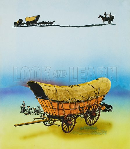 Wagon.  Original artwork for Look and Learn (issue yet to be identified).