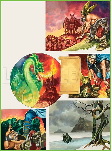 The Ring of the Nibelungs.  Original artwork for illustration on p48 of Look and Learn issue no 562 (21 October 1972).