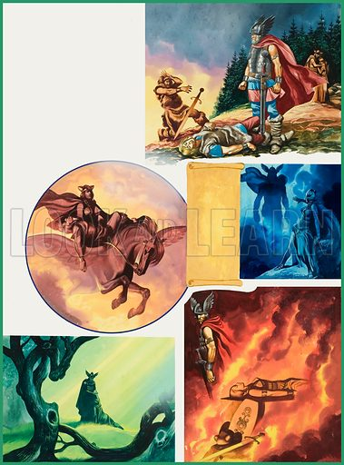 The Ring of the Nibelungs.  Original artwork for illustration on p48 of Look and Learn issue no 567 (25 November 1972).