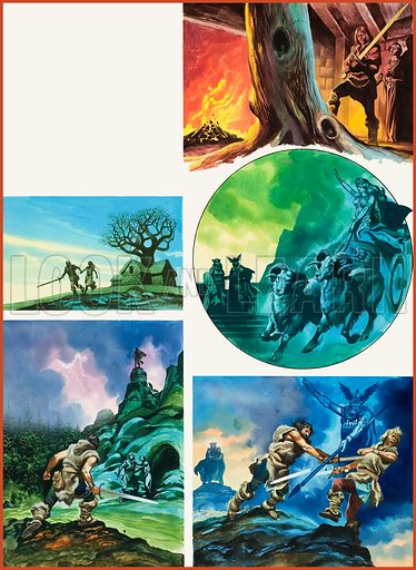 The Ring of the Nibelungs.  Original artwork for illustration on p13 of Look and Learn issue no 566 (18 November 1972).