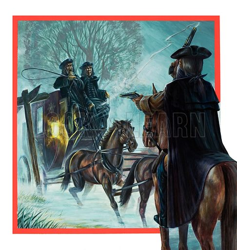 Highwayman.  Original artwork for cover of Look and Learn issue no 926 (20 October 1979).