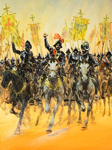 Spanish Conquistadors on horseback. Original artwork for cover of Look and Learn issue no 980 (20 December 1980).