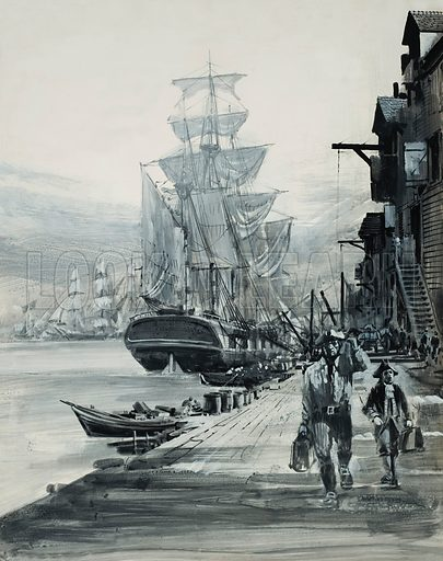 Port Scene. Original artwork for Look and Learn (issue yet to be identified).