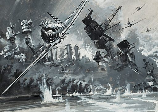 Pearl Harbour. When Japanese planes attacked Pearl Harbour and destroyed the American fleet at anchor there, William Mitchell, the one man who had predicted the use of aircraft for this purpose, was not alive to help his country.  Original artwork for illustration on p5 of Look and Learn issue no 566 (18 November 1972).