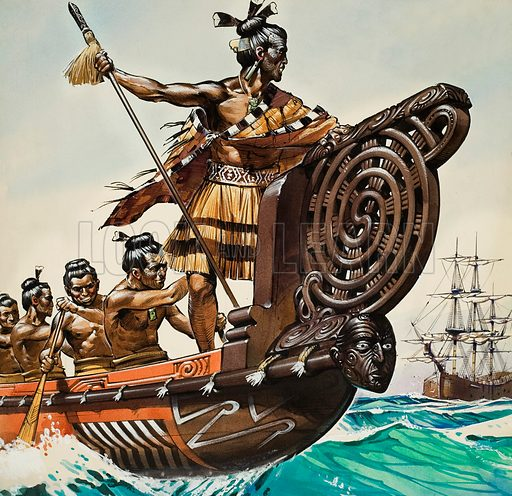 Natives and Captain Cook.  Original artwork for cover of Look and Learn issue no 813 (13 August 1977).