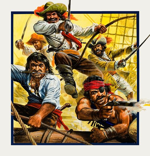 Henry Morgan - Pirate.  Original artwork for cover of Look and Learn issue no 859 (1 July 1978).