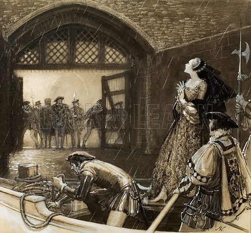 Ann Boleyn (?) arriving at the Tower.  Original artwork for Look and Learn (issue yet to be identified).