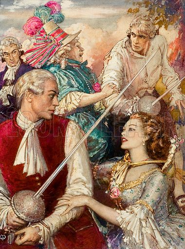 The Rivals, based on the play by Richard Brinsley Sheridan. In this famous play, the lovely Lydia Languish has four suitors... and two of them are the same man.  Original artwork for illustration on p20 of Look and Learn issue no 71.