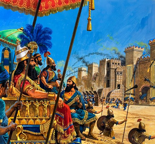 Fall of the city of Babylon to the Assyrians, 689 BC Original artwork from Look and Learn no. 1042 (27 February 1982).