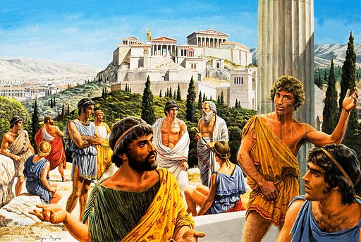 The Acropolis in Athens during the ancient Greek city's Golden Age, 5th Century BC Original artwork from Look and Learn no. 943 (16 February 1980).
