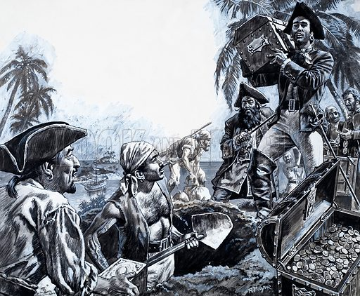 Pirate treasure. Original artwork from Look and Learn no. 735 (14 February 1976).