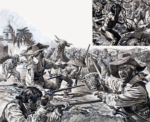 The Treasure Hunters: Morgan's Marauders. Original artwork from Look and Learn no. 736 (21 February 1976).