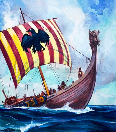Viking boat.  Original artwork for illustration on p42 of World of Wonder Book 1973.